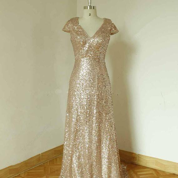 Sparkle Champange Sequined Aline Bridesmaid Dresses, Prom gowns, Bridesmaid Dresses 2015, Evening dresses With cap sleeves
