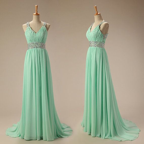 Mint Green Chiffon Floor Length V-neckline Cross Back Prom Gown with Beadings, Sexy Beadings Mint Green Evening Gown, Prom Dresses