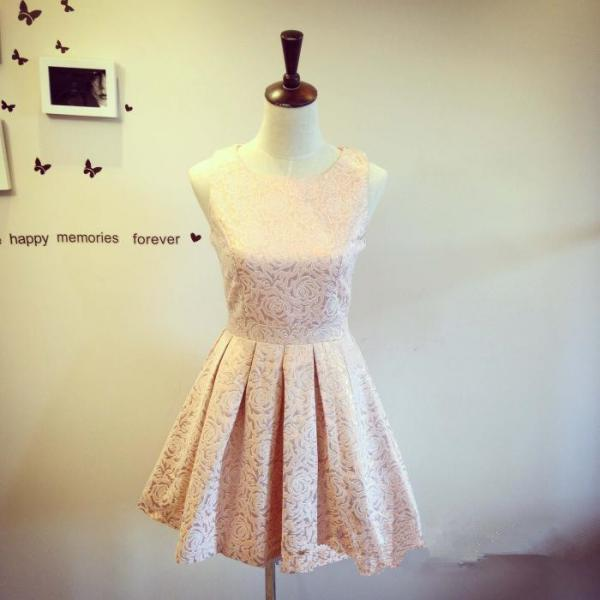 Pretty Light Pink-Champagne Flower Pattern Short Party Dresses, Lovely Prom Dresses, Bridesmaid Dresses, Short Formal Dresses, Cute Short Dresses,Mini Dress