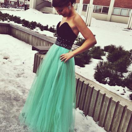 Handmade Green Tulle Black Sweetheart Bust Long Prom Dress with Beadings, Green Long Prom Gown 2015, Prom Dresses, Evening Dresses