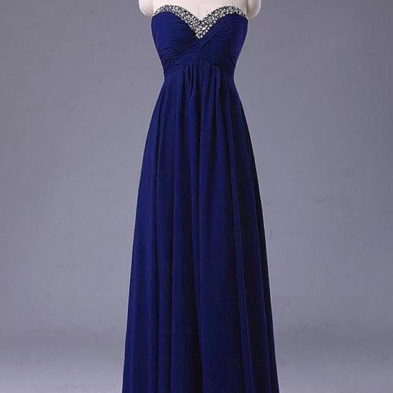 Pretty Simple Blue Long Prom Dress with Beadings, Simple Prom Dresses 2015, Evening Dresses, Formal Dresses