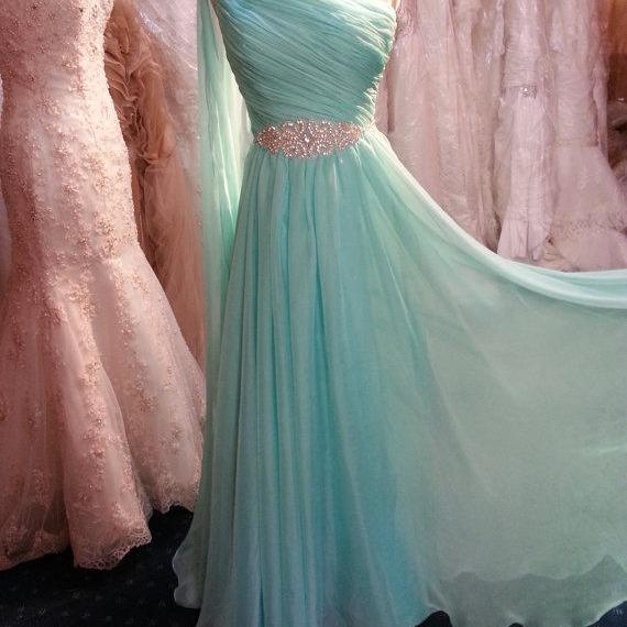 Pretty One Shoulder Mint Long Chiffon Prom Dress with Beadings, Long Prom Dresses, Prom Gowns, Evening Dresses
