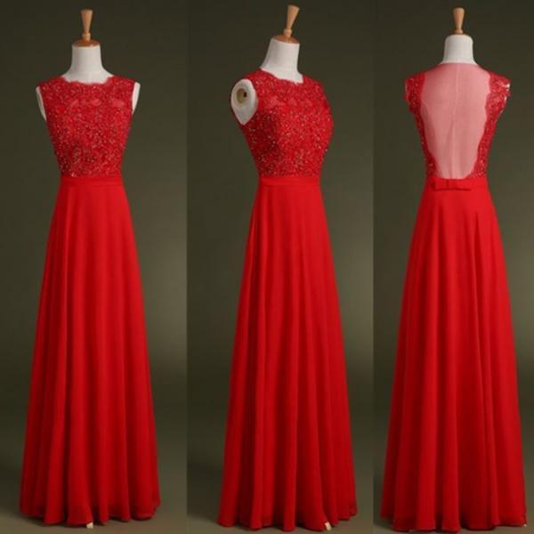 Red Lace Appliqués Crew Neck Sleeves Chiffon Floor Length Formal Dress Featuring Illusion Open Back, Prom Dress