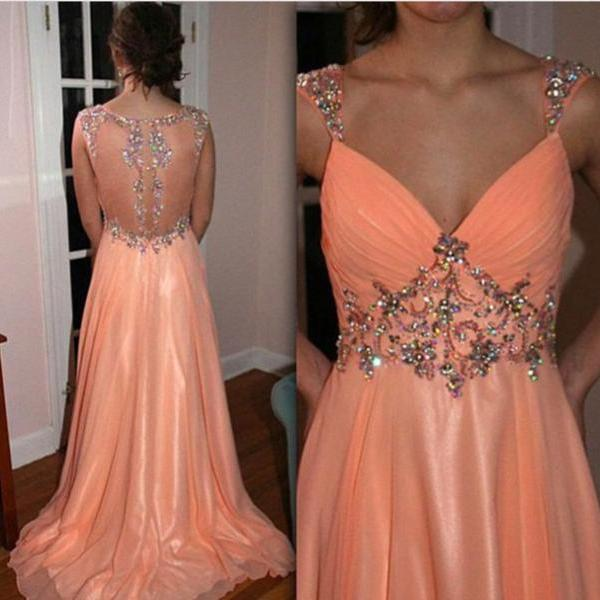 Pretty Light Coral V-Neckline See Through Back Beaded Prom Dreses ...