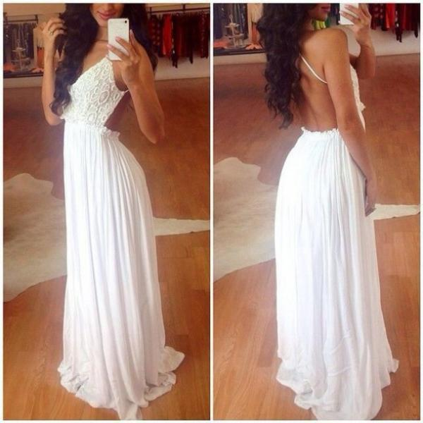 Charming Lace Top Chiffon Backless Prom Dress, White Lace Prom ...