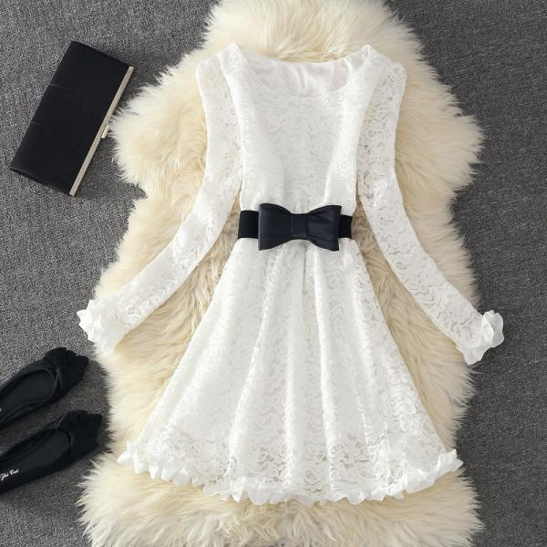 Cute White Long Sleeves Lace Dresses with Bow, Cute White Lace Dresses, Lace Dresses for Fall