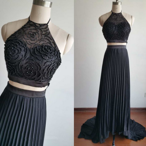 Gorgeous Two Pieces Black Beadings Prom Dresses 2016, Two Pieces Prom Dresses, Prom Gowns 2016