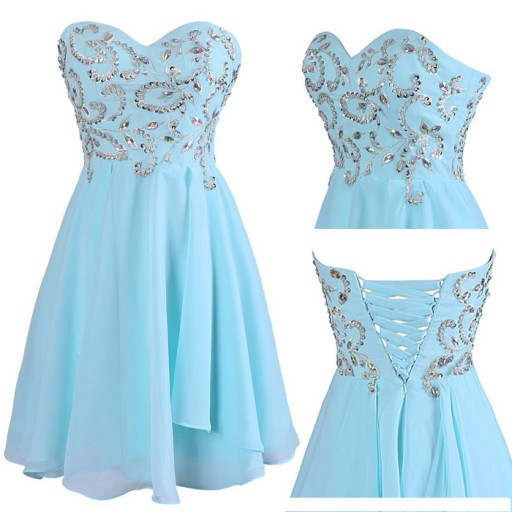 Lovely Blue Handmade Short Prom Dresses, Homecoming Dresses, Blue Prom Dresses 2016, Sweet 16 Dresses