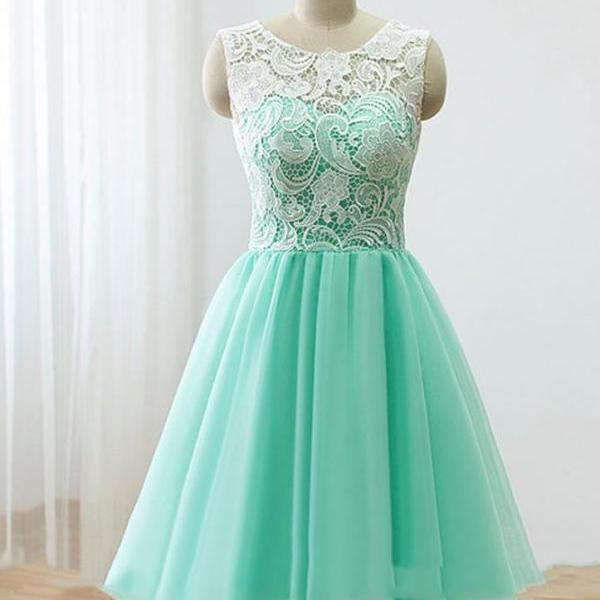 Love Handmade Short Mint Tulle Prom Dress with Lace, Homecoming Dresses, Short Prom Dresses 2016