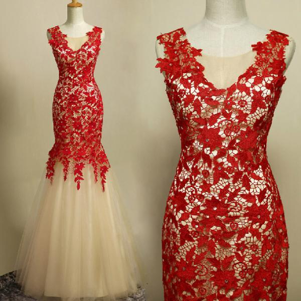 Elegant Handmade Mermaid Red Lace Prom Gown 2016, Prom Gowns 2016, Red Evening Gowns