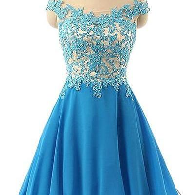 Beautiful Off Shoulder Knee Length Blue Prom Dresses, Homecoming Dresses, Party Dresses 2017