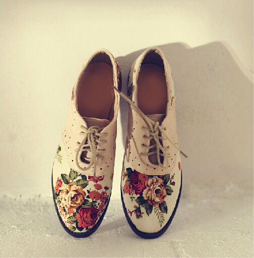 Womens Patterned Oxford Shoes