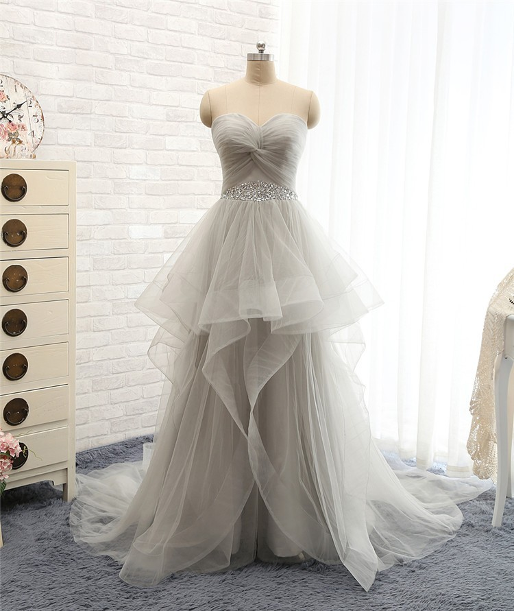 Charming grey tulle lace up prom dresses tulle prom gown for Gray lace wedding dress